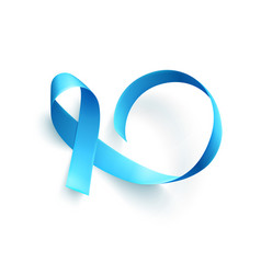 realistic blue ribbon over white background vector image