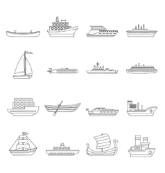 Sea transport icons set outline style vector