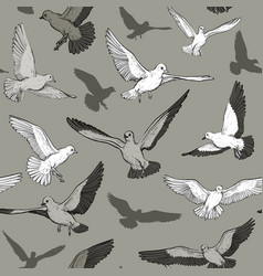 seamless monochrome pattern with flying pigeon vector image