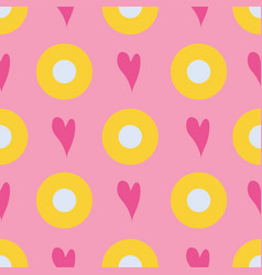 seamless pattern bubbles and hearts on a pink vector image
