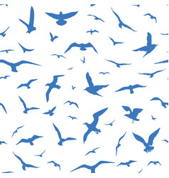 Seamless pattern with blue birds vector