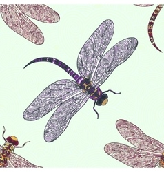 Seamless pattern with dragonfly on a tender vector image