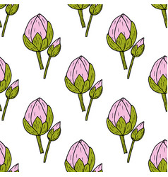 seamless pattern with indian or sacred lotus vector image