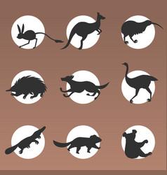 Set cartoon endangered wild australian animals vector