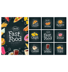 set fast food and bubble color flat icon vector image