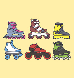 Set inline roller skates colored icons vector