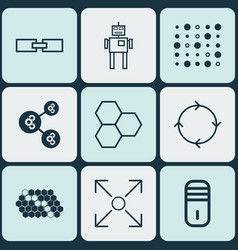 Set of 9 artificial intelligence icons includes vector