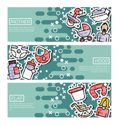Set of horizontal banners about motherhood vector