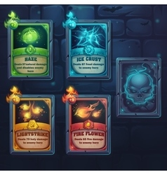 Set spell cards nature ice fire light vector