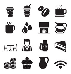 silhouette coffee shop icons set vector image