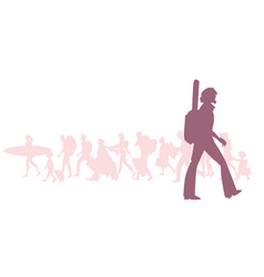 silhouette of adventurous bearded traveler with a vector image