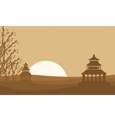 Silhouette of two pavilion landscape vector image
