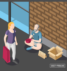 Society problems isometric background vector