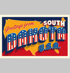 south dakota usa july 4th retro postcard vector image