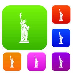 Statue of liberty set collection vector