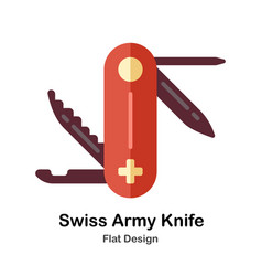 Swiss army knife flat icon vector