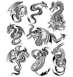 Tattoo art design of furious dragon collection vector