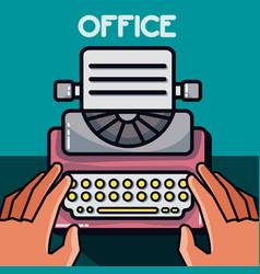 Typewriter office element vector