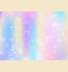 unicorn background with rainbow mesh vector image