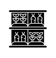Vertical farm black glyph icon vector