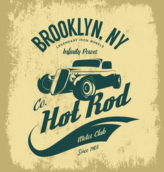 Vintage hot rod logo concept isolated on vector