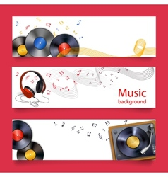 Vinyl record music banners vector