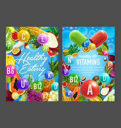 vitamins in vegetables and fruits vector image
