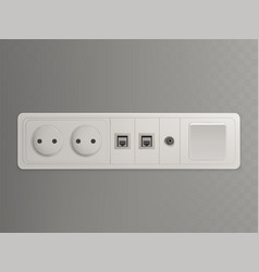 wall outlet with different sockets 3d vector image