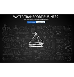 Water Transport Business Concept with Doodle vector