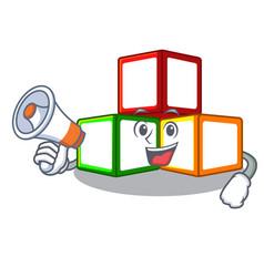 With megaphone bright toy block bricks on cartoon vector