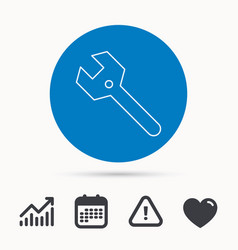 wrench key icon repair tool sign vector image
