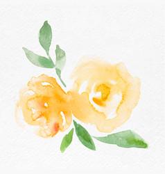 Yellow rose flower watercolor spring seasonal vector