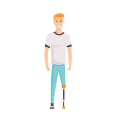 young handicapped person man prosthetic foot vector image