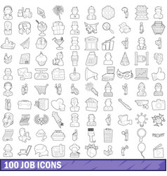 100 job icons set outline style vector image vector image