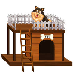 dog and doghouse made of wood vector image