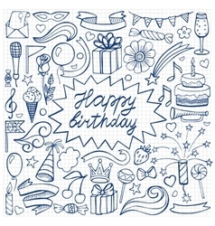Happy birthday hand drawn set on squared paper vector image