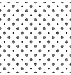 Seamless pattern with polka dot and stylish doodle vector image
