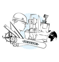 surveying and architecture silhouette vector image vector image