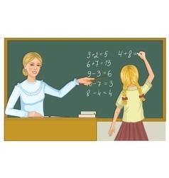 Teacher and schoolgirl at blackboard eps10 vector image vector image