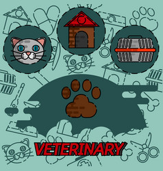 Veterinary pharmacy flat concept icons vector
