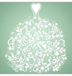 White wedding dress vintage silhouette vector image