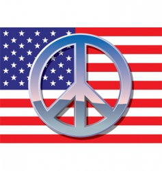 american flag with peace sign vector image vector image