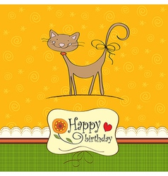 birthday card with funny cat vector image
