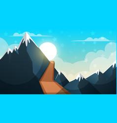 cartoon landscape mountain firr cloud sun vector image
