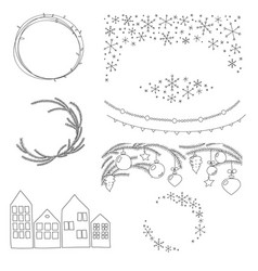christmas hand drawn borders and wreaths vector image