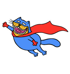 Cute super cat in a raincoat is flying to save vector