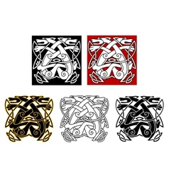 Tribal wolves in celtic style vector image vector image