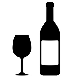 wine bottle with blank label and glass vector image