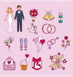bride and groom wedding couple marriage nuptial vector image vector image