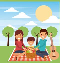 family sitting blanket dinner picnic in the park vector image